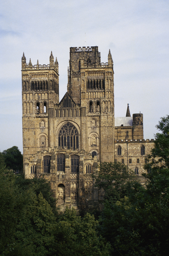 The facade and towers of Durham Cathedral.