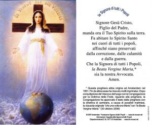 La Signora di Tutti i Popoli preghiera