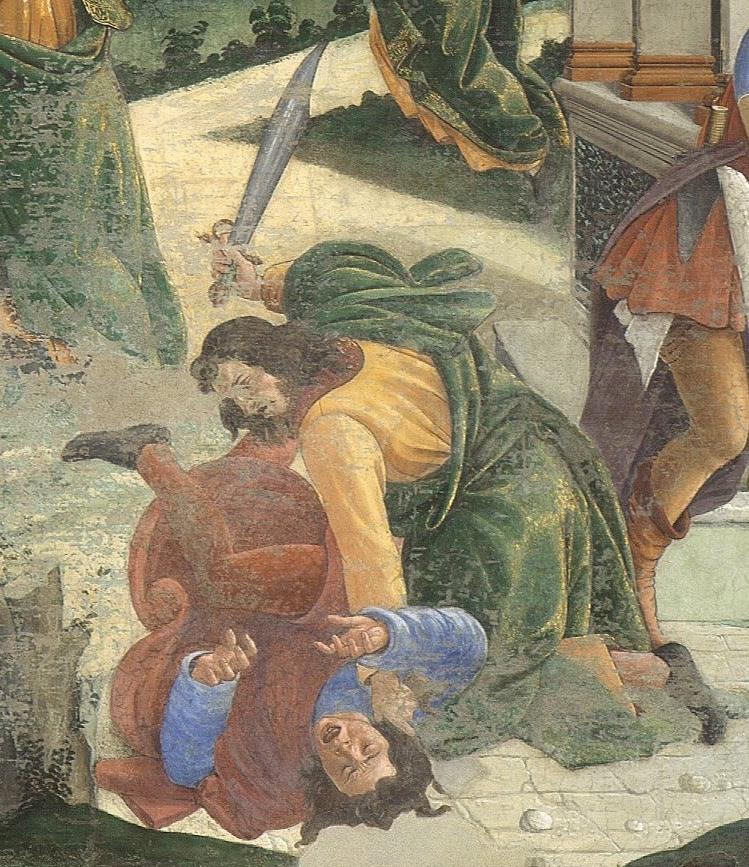 mosè uccide l'egiziano - botticelli