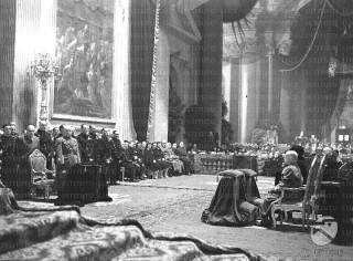 funerale di Amedeo di Savoia con la Regina e Mussolini