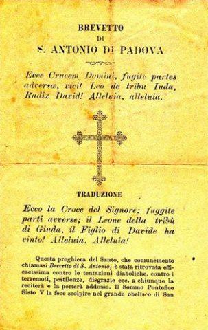 brevetto di sant'Antonio